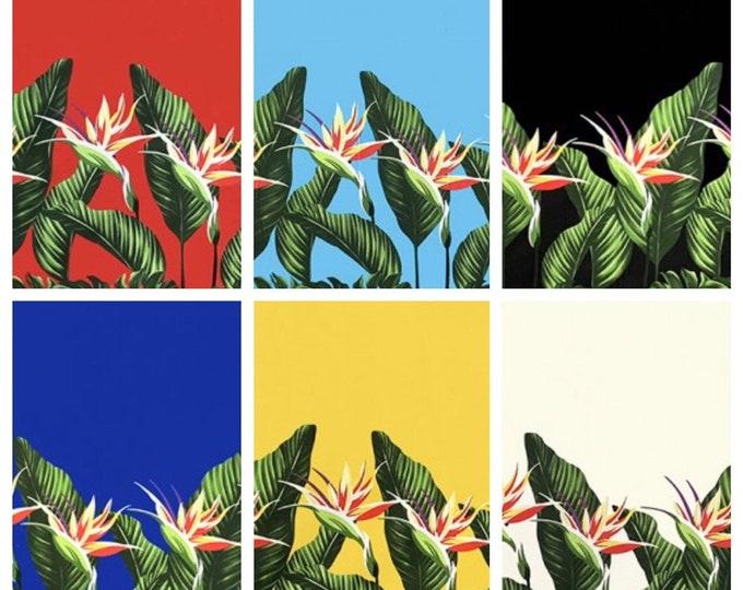 Tropical Hawaiian Monstera Bird of Paradise Tiki Border Fabric