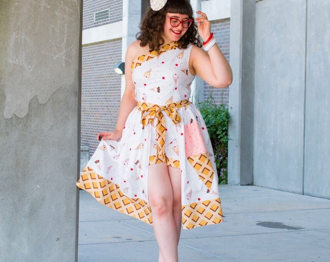 Sara One Shoulder Ice Cream Pinup Playsuit and Skirt with Cone Pocket