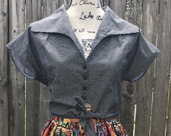 Tie Front Button Down Rockabilly Pinup Top