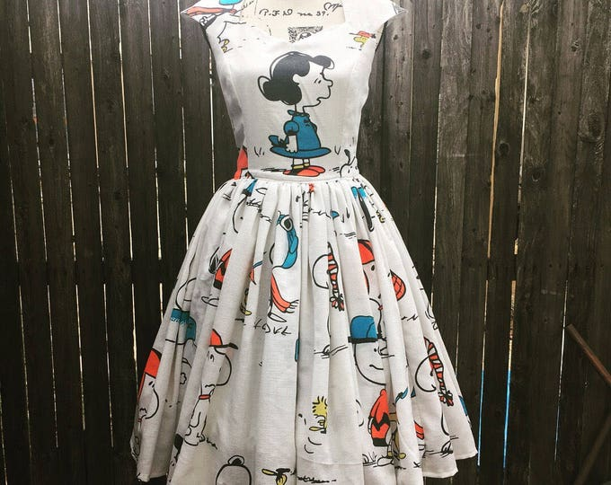 Peanuts Vintage Bedsheet Cap Sleeve Sweetheart Dress