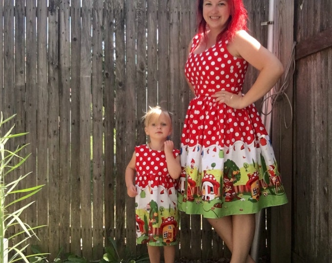 Mommy & Me Set Red Polka Dot Gnomes Dresses
