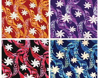 Tropical Hawaiian Allover Tribal Tiare Fabric