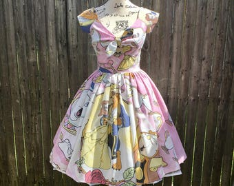 Kenniy Peekaboo Keyhole Swing Dress in Vintage Beauty and the Beast Sheets