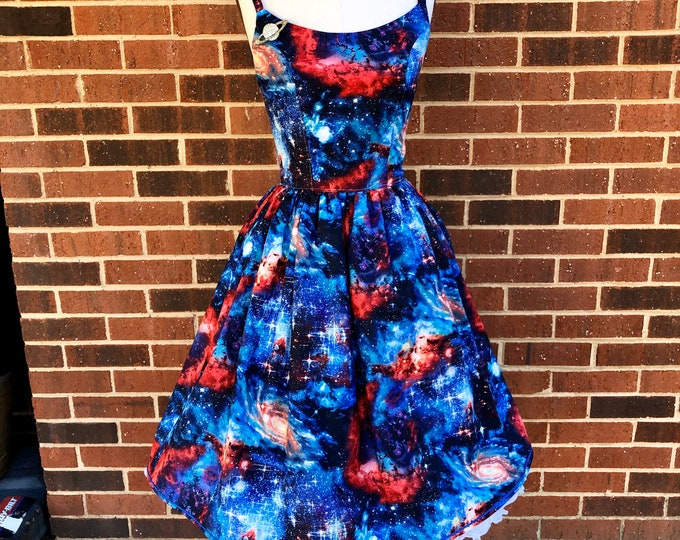 Courtney Dress in Blue Celestial Galaxy Fabric