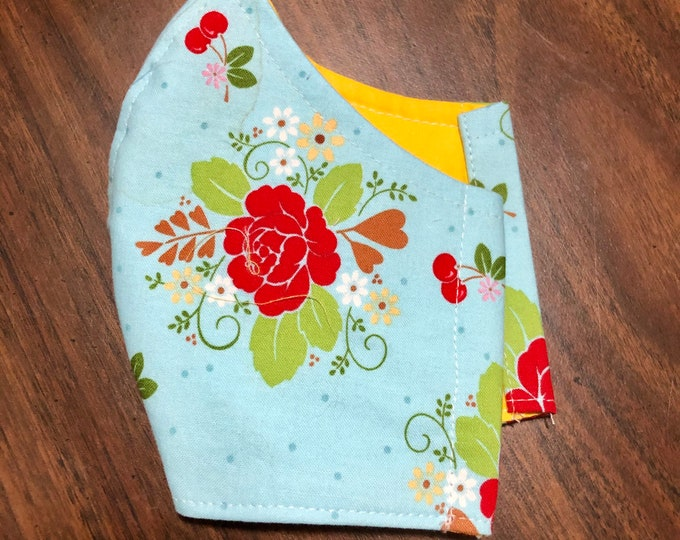 Face Mask Made From Blue Cherry Floral Fabric