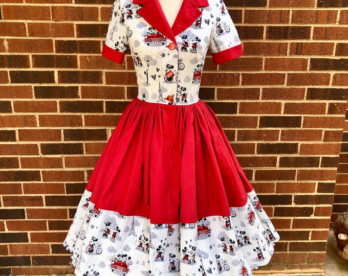 Laurie Shirtwaist Dress with Double Full Skirt and Pockets in Minnie & Mickey Mouse Fabric