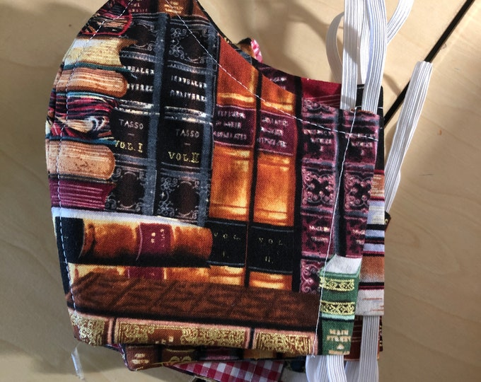 Face Mask Made From Packed Books Fabric
