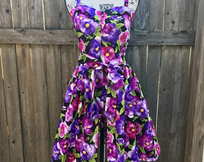 Three Piece Purple Pansy Floral Pinup Playsuit and Skirt