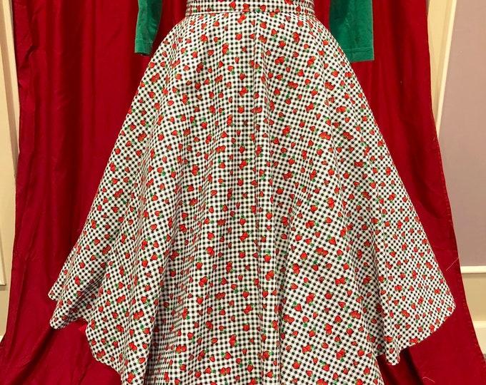 Strawberries on Black & White Gingham Skirt