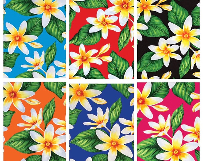 Tropical Hawaiian Plumeria Taro Allover Print Fabric