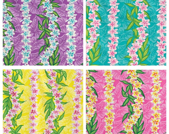 Tropical Hawaiian Plumeria Taro Vertical Stripe Fabric