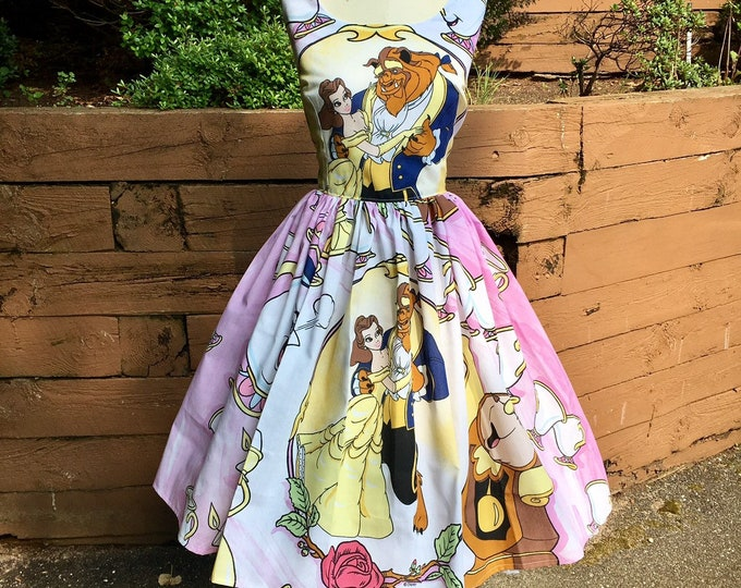 Claudia Dress in Vintage Beauty and the Beast Bedsheet
