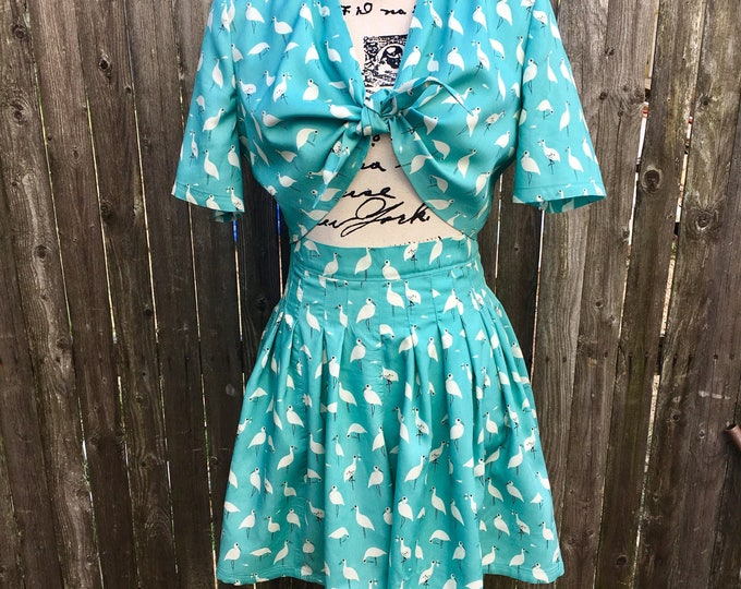 1940's Vintage Reproduction Two Piece Lulu Playsuit in Birds