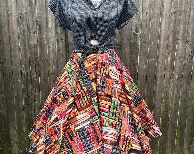 Packed Books Full Circle Skirt