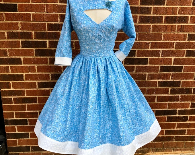 Morgan Dress in Baby Blue Atomic Snowflake Fabric