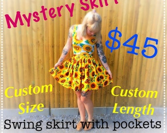 Mystery Retro Pinup Skirt with Pockets in Suprise Fabric