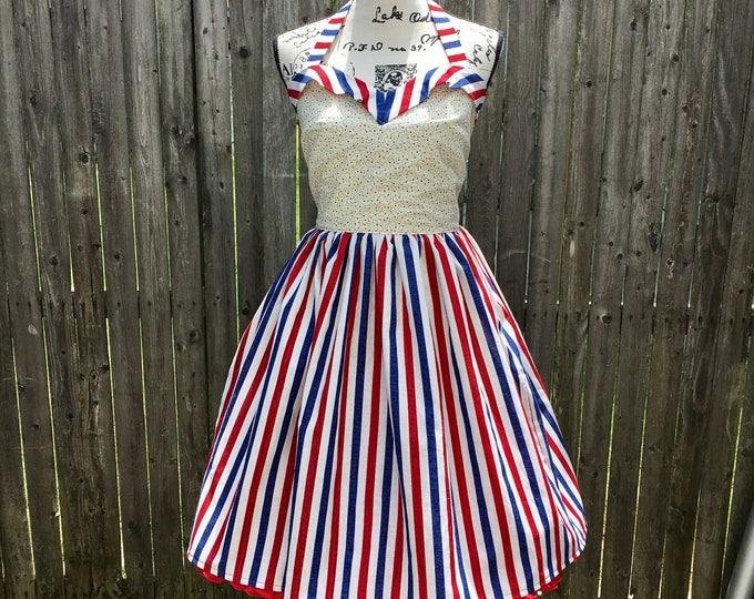 Patriotic Stars & Stripes Sweetheart Dress