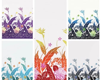 Tropical Hawaiian Gradient Plumeria Bird of Paradise Border Fabric