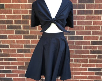 Allie Playsuit Short Sleeve Tie Top and Skirt with Pockets