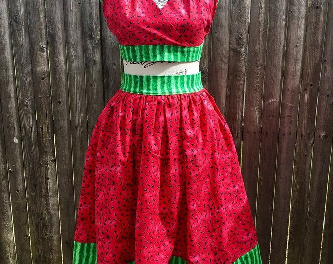 Watermelon Play Suit Halter Top and Skirt