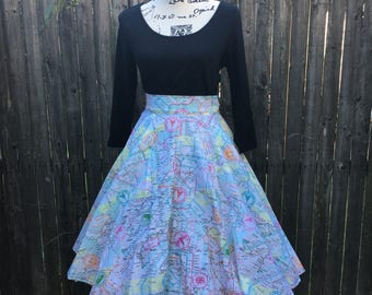 European Adventure Map Circle Skirt