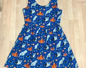 Claudia Dress in Finding Dory Fabric