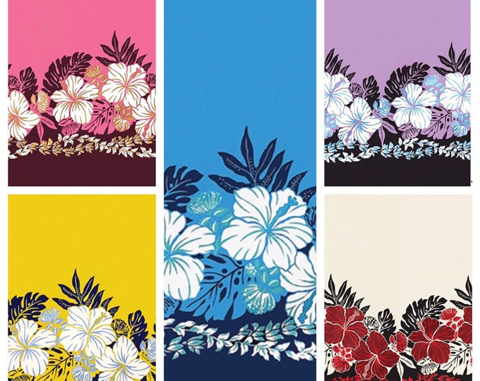 Tropical Hawaiian Hibiscus Monstera Border Fabric