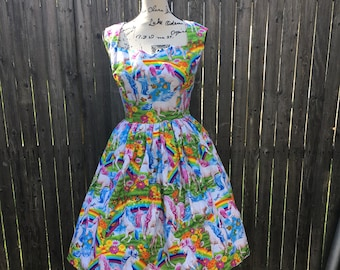 Ariene Dress in Rainbow Unicorn Fabric