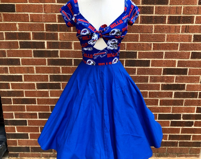 Kenniy Peekaboo Keyhole Circle Skirt Dress in Buffalo Bills & Blue Cotton Fabric