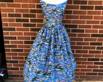 Courtney Dress in Claude Monet Lily Pad  Fabric