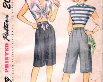 Simplicity 1613 Vintage Reproduction Midriff Top and Bermuda Shorts Playsuit Set Circa 1940's