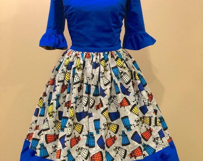 Jenna Dress in Tossed Dalek Fabric, aka Empress of the Daleks