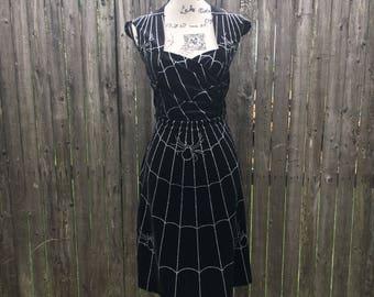 Jessie Dress in Black Velvet Silver Spiderweb Fabric