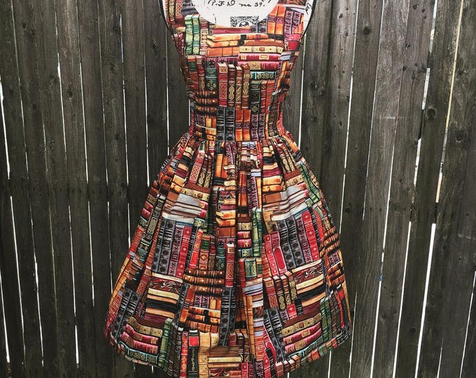 Claudia Dress in Packed Books Library Fabric