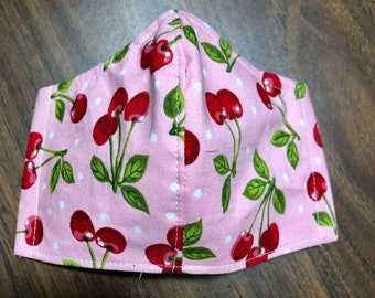 Face Mask Made From Pink Cherry Polka Dot Fabric