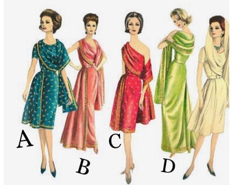 Vintage Reproduction Vogue 5624 Short Sleeve or One Shoulder Cocktail Dress or Gown with Shoulder Drape