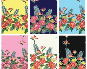 Tropical Hawaiian Protea Bird of Paradise Tiki Border Fabric