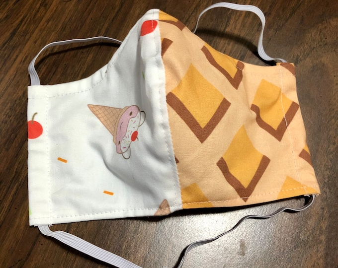 Face Mask Made From Custom Print Ice Cream & Cone Cotton Sateen