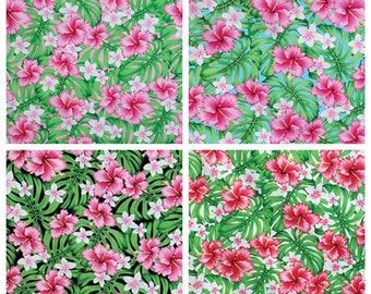 Tropical Hawaiian Allover Hibiscus Monstera Fabric