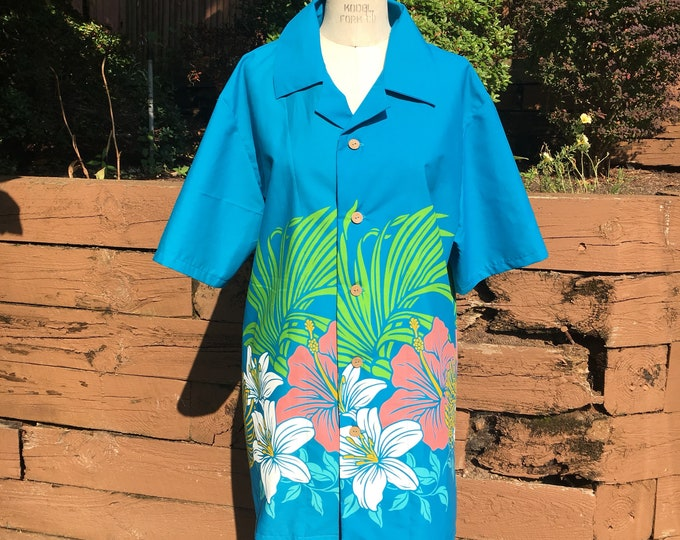 Blue Hibiscus Border Button Down Short Sleeve Tiki Shirt