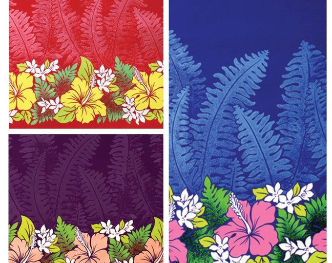 Tropical Hawaiian Lauae Hibiscus Plumeria Tiki Border Print Fabric