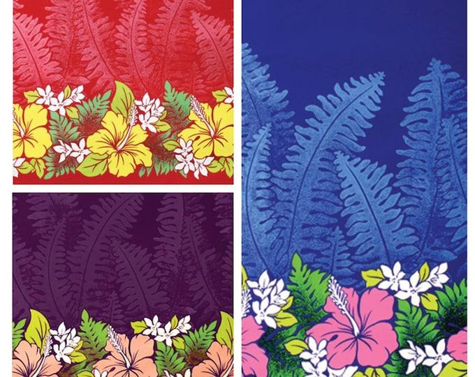 Tropical Hawaiian Lauae Hibiscus Plumeria Tiki Border Print Fabric