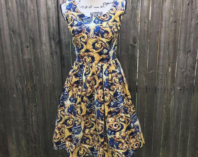 Claudia Dress in Doctor Who Exploding Tardis Vincent and the Doctor Fabric