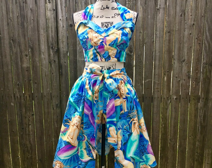 Mermaid Siren Three-Piece Pinup Playsuit and Skirt