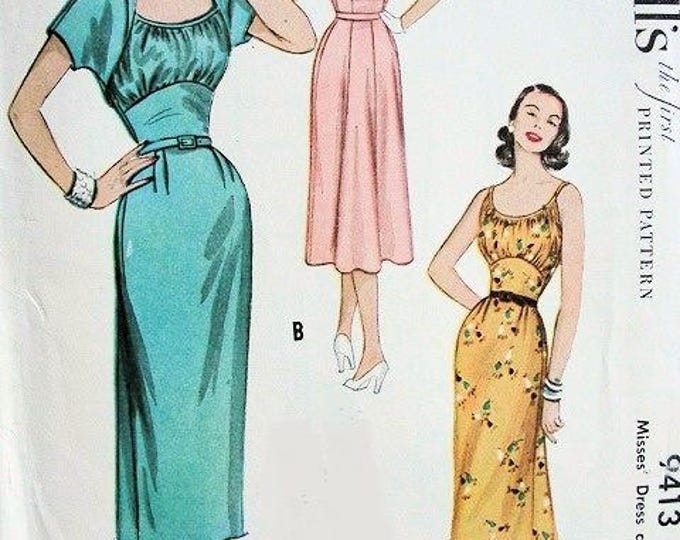 McCall's 9413 Vintage Reproduction Sleeveless Gathered Bust Pencil Dress and Bolero Circa 1954