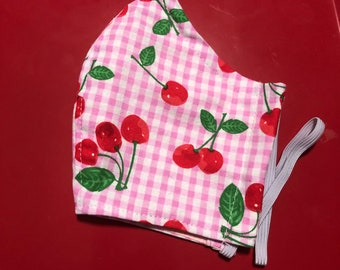 Face Mask Made From Cherries on Pink Gingham Fabric