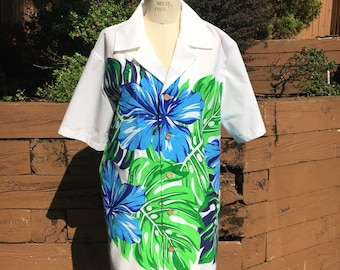 White Button Down Tiki Shirt with Blue Hibiscus Border