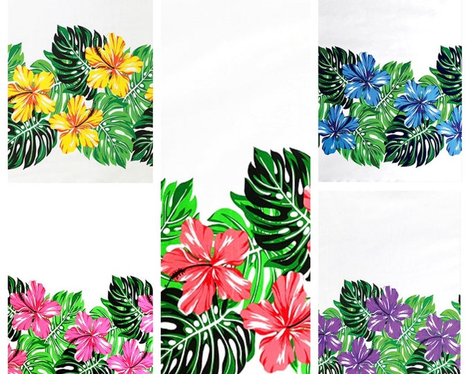 Tropical Hawaiian Monstera Hibiscus Tiki Border Print Fabric