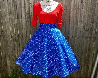 Wonder Woman Blue And White Stars Full Circle Skirt