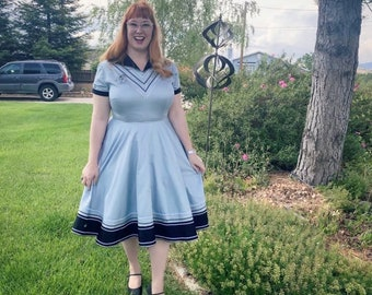 Vintage Reproduction Collared Western Patio Dress with Circle Skirt